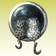 Vintage Sterling Cat Brooch Swarovski Crystals