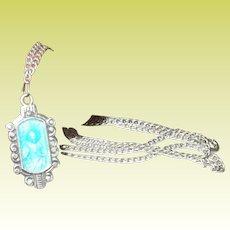 Vintage Sterling Necklace Pendant Enameled