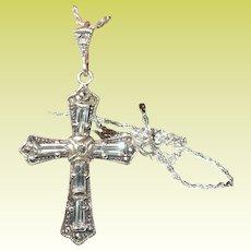 Vintage Sterling Cross Pendant Necklace