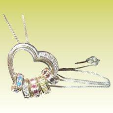 Vintage Sterling Vermeil Pendant Necklace Diamond Heart