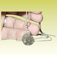 Vintage Sterling Necklace Fossil Pendant