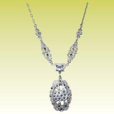 Vintage Necklace Sterling Marcasite Openwork