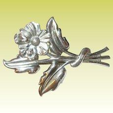 Vintage Sterling Brooch Repousse Flower