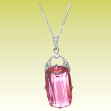 Sterling Necklace Pendant Lg Faux Pink Sapphire