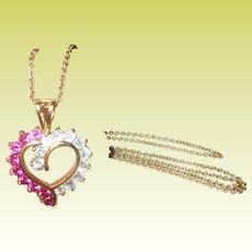 Vintage Sterling Vermeil Necklace Heart Pendant