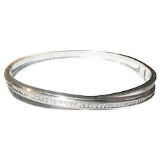 Vintage Sterling Diamond Hinged Bangle