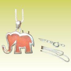 Vintage Sterling Necklace Elephant Pendant
