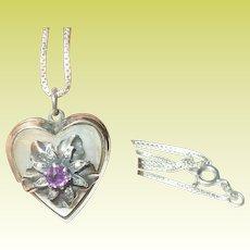 Vintage Sterling Necklace Heart Locket Pendant