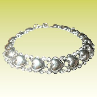 Vintage Sterling Puffy Heart Link Bracelet