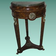 Vintage Wood Marble Round Table Empire Style