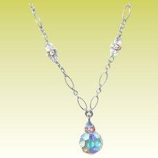 Vintage Link Necklace Sterling Aurora Borealis