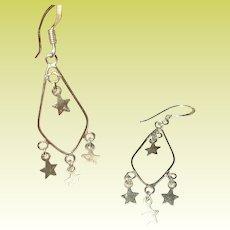 Vintage Chandelier Earrings Sterling Vermeil