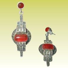 Art Deco Sterling Marcasite Carnelian Drop Earrings