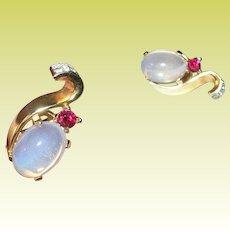 Vintage Trifari Alfred Philippe Sterling Moonstone Earrings