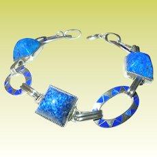 Art Deco Sterling Link Bracelet Enamel Blue Lapis