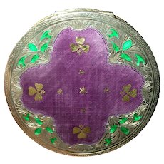 Vintage 800 Coin Silver Compact Enameled