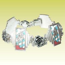 Vintage Sterling Sweetheart Link Bracelet Enameled