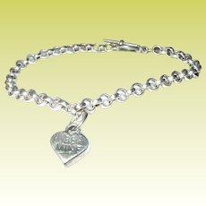 Vintage Sterling Bracelet Puffy Heart Charm