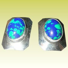 Vintage Earrings Sterling Cabochon Azurite