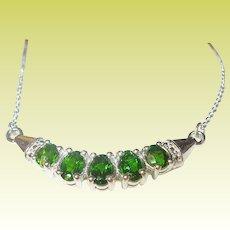 Vintage Sterling Necklace Green Swarovski Crystals