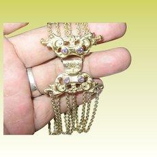 Vintage Link Bracelet Sterling Vermeil 7 Links