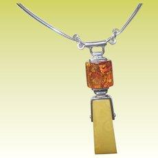 Vintage Modernist Amber Necklace Sterling