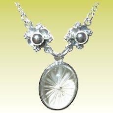 Vintage Necklace Sterling Glass