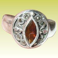 Vintage Ring Sterling Marcasite Faux Garnet