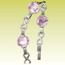 Vintage F&B Link Bracelet Sterling Pink Glass