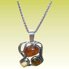 Vintage Sterling Necklace Amber Pendant