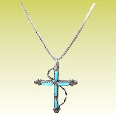 Vintage Sterling Necklace Turquoise Cross Pendant