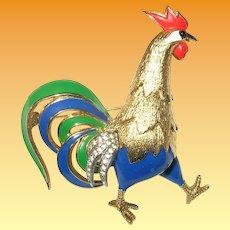 Vintage Mazer Rooster Brooch Enamel