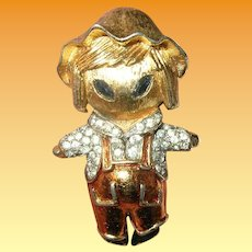 Vintage Mazer Brooch Scarecrow Extremely Rare