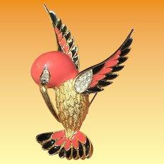 Vintage D' Orlan Bird Brooch Enameled