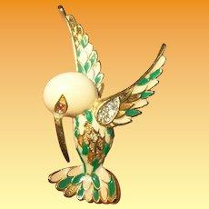 Vintage D' Orlan Enamel Bird Brooch