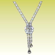 Vintage Necklace Sterling Faux Diamonds Drops
