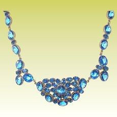 Vintage Blue Crystal Necklace Pendant 1930