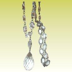 Vintage Sterling Crystal Link Necklace Teardrop Pendant