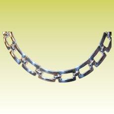 Vintage Sterling Link Necklace Openwork