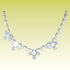 Vintage Sterling Crystal Link Necklace