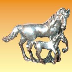 Vintage Sterling Brooch Horses 3D