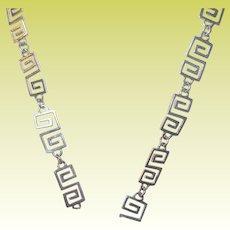 Vintage Sterling Link Necklace Greek Key Pattern