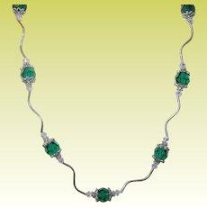 Vintage Sterling Crystal Bead Necklace