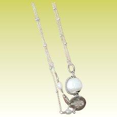 Vintage Link Necklace Freshwater Cultured Drop Pendant