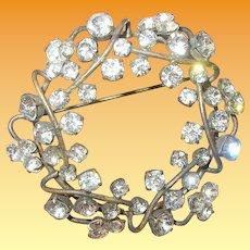 Vintage Reef Brooch Faux Diamonds