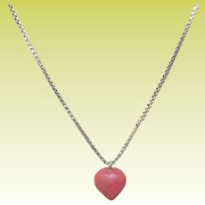Vintage Sterling Vermeil Necklace Coral Heart