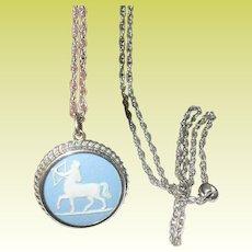 Vintage Sterling Wedgwood Pendant Necklace