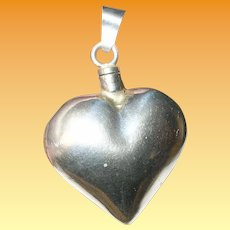 Vintage Sterling Scent Bottle Pendant Puffy Heart