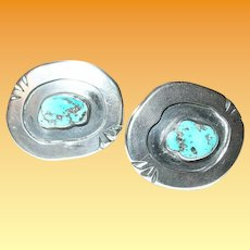Vintage Sterling Cufflinks Native American Turquoise