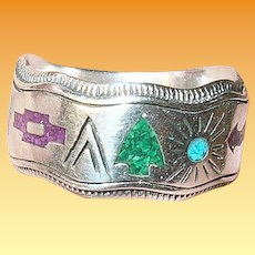 Vintage Sterling Ring Native American Semi Precious Stones